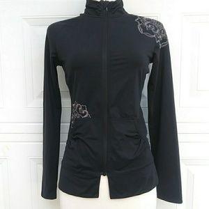 REI Full Zipper Sweatshirt Floral Embroidery